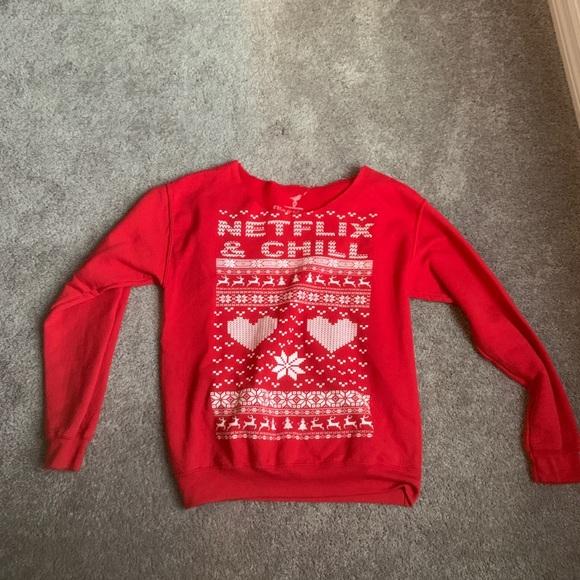 Womens Christmas Sweaters.Women S Christmas Sweater Netflix Chill